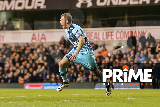 Garry Thompson of Wycombe Wanderers celebrates after he scores his team's third goal of the game to make the score 2-3 during the FA Cup 4th round match between Tottenham Hotspur and Wycombe Wanderers at White Hart Lane, London, England on 28 January 2017. Photo by PRiME Media Images / David Horn.