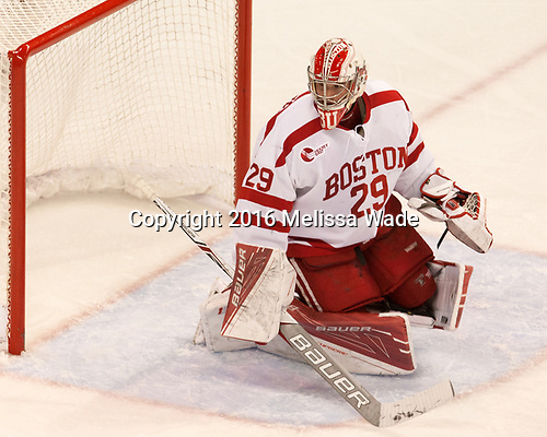 Jake Oettinger (BU - 29) The Boston University Terriers defeated the visiting Yale University Bulldogs 5-2 on Tuesday, December 13, 2016, at the Agganis Arena in Boston, Massachusetts.
