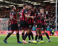 Bournemouth's captain Simon Francis congratulates Bournemouth's Joshua King for scoring his side's first goal<br /> <br /> <br /> Photographer David Horton/CameraSport<br /> <br /> The Premier League - Bournemouth v Arsenal - Sunday 25th November 2018 - Vitality Stadium - Bournemouth<br /> <br /> World Copyright © 2018 CameraSport. All rights reserved. 43 Linden Ave. Countesthorpe. Leicester. England. LE8 5PG - Tel: +44 (0) 116 277 4147 - admin@camerasport.com - www.camerasport.com