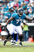 October 18, 2009:       Jacksonville Jaguars guard Uche Nwaneri (77) during action between the NFC West St. Louis Rams and AFC South Jacksonville Jaguars at Jacksonville Municipal Stadium in Jacksonville, Florida. Jacksonville defeated St. Louis in overtime 23-20............