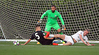 Pictured: Oliver McBurnie of Swansea (R) is denied a goal Monday 15 August 2016<br /> Re: Swansea City FC U23 v West Bromwich Albion at Landore training ground, Swansea, Wales, UK