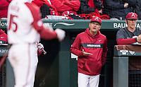 NWA Democrat-Gazette/BEN GOFF @NWABENGOFF<br /> Dave Van Horn, Arkansas coach, signals Casey Martin, Arkansas shortstop, during his at bat in the 3rd inning vs LSU Thursday, May 9, 2019, at Baum-Walker Stadium in Fayetteville.