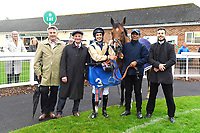 Connections of Handytalk in the Winners enclosure after winning The Shadwell Racing Excellence Apprentice Handicap during Evening Racing at Salisbury Racecourse on 11th June 2019