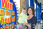 Sheila and Catherine O'Neill spin the wheel at the reopening of Lidl in Killarney on Thursday