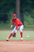 Philadelphia Phillies Jonathan Guzman (8) fields a ground ball during an Instructional League game against the Toronto Blue Jays on September 30, 2017 at the Carpenter Complex in Clearwater, Florida.  (Mike Janes/Four Seam Images)