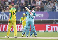 Eoin Morgan (England) and Joe Root (England) celebrate the victory during Australia vs England, ICC World Cup Semi-Final Cricket at Edgbaston Stadium on 11th July 2019