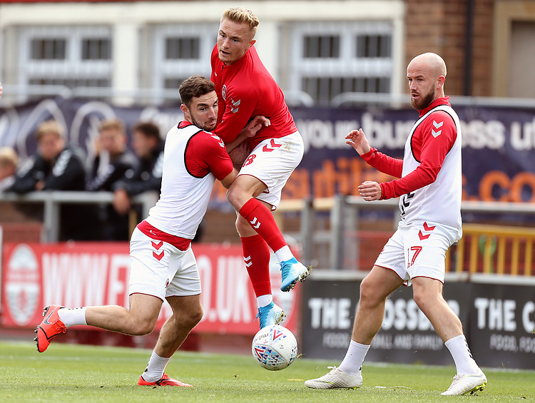 Fleetwood Town players during the pre-match warm-up <br /> <br /> Photographer Rich Linley/CameraSport<br /> <br /> The EFL Sky Bet League One - Fleetwood Town v Oxford United - Saturday 7th September 2019 - Highbury Stadium - Fleetwood<br /> <br /> World Copyright © 2019 CameraSport. All rights reserved. 43 Linden Ave. Countesthorpe. Leicester. England. LE8 5PG - Tel: +44 (0) 116 277 4147 - admin@camerasport.com - www.camerasport.com