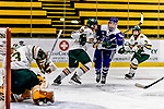 16 February 2019: Holy Cross Crusader Defender Emma Lange, a Freshman from Cheshire, CT, in action against the University of Vermont Catamounts at Gutterson Fieldhouse in Burlington, Vermont. The Lady Cats defeated the Crusaders 4-1 to sweep their 2-game weekend series. Mandatory Credit: Ed Wolfstein Photo *** RAW (NEF) Image File Available ***