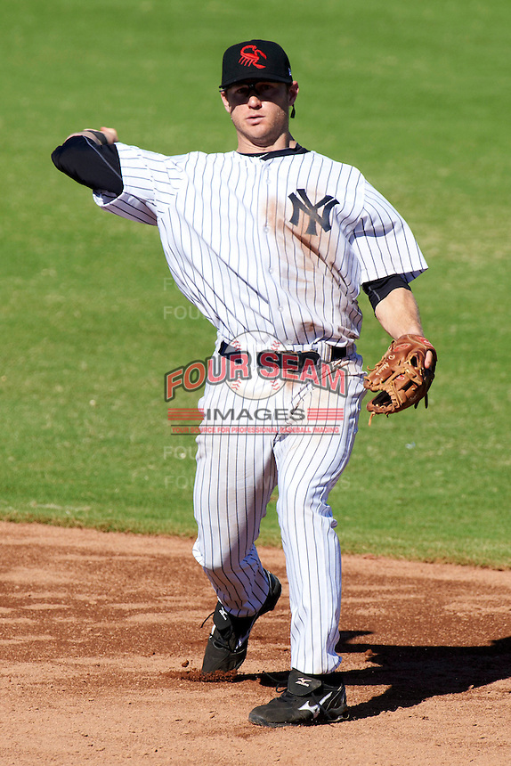 Scottsdale Scorpions second baseman David Adams #18, of the New York Yankees organization, during an Arizona Fall League game against the Surprise Saguaros at Scottsdale Stadium on October 16, 2012 in Scottsdale, Arizona.  Surprise defeated Scottsdale 11-3.  (Mike Janes/Four Seam Images)