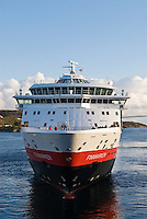 Hurtigruten, Norwegian coastal ferry at port in the village of Rørvik, Norway