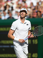 Kevin Anderson (RSA) during his victory over Roger Federer (SUI) in their Men's Quarter Final match<br /> <br /> Photographer Rob Newell/CameraSport<br /> <br /> Wimbledon Lawn Tennis Championships - Day 9 - Wedesday 11th July 2018 -  All England Lawn Tennis and Croquet Club - Wimbledon - London - England<br /> <br /> World Copyright &not;&uml;&not;&copy; 2017 CameraSport. All rights reserved. 43 Linden Ave. Countesthorpe. Leicester. England. LE8 5PG - Tel: +44 (0) 116 277 4147 - admin@camerasport.com - www.camerasport.com