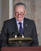 United States Senate Minority Leader Chuck Schumer (Democrat of New York) makes leadership remarks at a Congressional Gold Medal ceremony honoring former US Senator Bob Dole (Republican of Kansas) that was also attended by US President Donald J. Trump in the Rotunda of the US Capitol on Wednesday, January 17, 2017.  Congress commissioned gold medals as its highest expression of national appreciation for distinguished achievements and contributions.  Dole served in Congress from 1961 through 1996, was the Senate GOP leader from 1985 through 1996, and was the 1996 Republican Party nominee for President of the United States.<br /> Credit: Ron Sachs / CNP