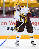Erik Johnson (University of Minnesota - Bloomington, MN) warms up. The University of Minnesota Golden Gophers defeated the Michigan State University Spartans 5-4 on Friday, November 24, 2006 at Mariucci Arena in Minneapolis, Minnesota, as part of the College Hockey Showcase.