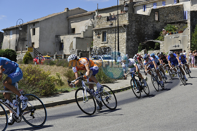 The peleton including Irish National Champion Nicolas Roche (IRL) AG2R La Mondiale pass through the medieval village of Salles Sous Bois during the penultimate Stage 19 to Mont Ventoux during the Tour de France 2009 running 167km from Montelimar to Mont Ventoux, France. 25th July 2009 (Photo by Eoin Clarke/NEWSFILE)