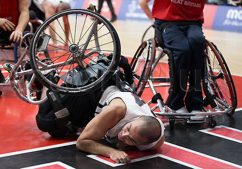 03.07.2016. Leicester Sports Arena, Leicester, England. Continental Clash Wheelchair Basketball, England versus Canada. Tyler Miller (CAN) falls over under pressure from team GB