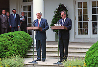 ***FILE PHOTO*** George H.W. Bush Has Passed Away<br /> United States President George H.W. Bush, right, and President Boris Yeltsin of the Russian Federation, left, announce an arms control agreement that will eliminate all of Russia's most powerful SS-18 multiple warhead missiles, in the Rose Garden of the White House in Washington, D.C. on June 16, 1992.  After making their statements the presidents took questions from the media.<br /> CAP/MPI/RS<br /> &copy;RS/MPI/Capital Pictures
