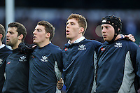 Oxford University players sing the national anthem. The Varsity Match between Oxford University and Cambridge University on December 10, 2015 at Twickenham Stadium in London, England. Photo by: Patrick Khachfe / Onside Images