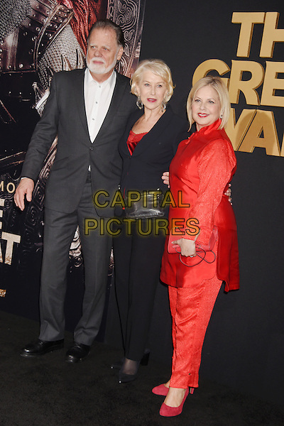 HOLLYWOOD, CA - FEBRUARY 15: (L-R) Director Taylor Hackford, actress Helen Mirren and Mayes C. Rubeo arrive at the premiere of Universal Pictures' 'The Great Wall' at TCL Chinese Theatre IMAX on February 15, 2017 in Hollywood, California.<br /> CAP/ROT/TM<br /> &copy;TM/ROT/Capital Pictures