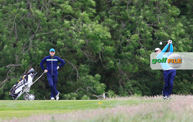 Dave O'Donovan (Muskerry) on the 16th tee during Round 3 of the Irish Mid-Amateur Open Championship at New Forest on Sunday 21st June 2015.<br /> Picture:  Thos Caffrey / www.golffile.ie