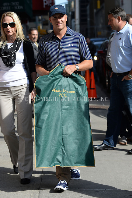 WWW.ACEPIXS.COM <br /> April 13, 2015 New York City<br /> <br /> Jordan Spieth arrives to tape an appearance on the Late Show with David Letterman on April 13, 2015 in New York City.<br /> <br /> Please byline: Kristin Callahan/ACE Pictures  <br /> <br /> ACEPIXS.COM<br /> Ace Pictures, Inc<br /> tel: (212) 243 8787 or (646) 769 0430<br /> e-mail: info@acepixs.com<br /> web: http://www.acepixs.com