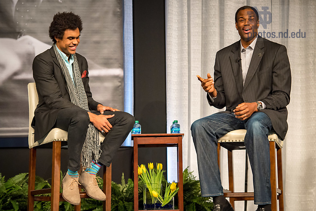 January 22, 2018; Corey Robinson '17 and his father, philanthropist and former NBA star David Robinson engage in a discussion and Q&A as the keynote speakers at the 2018 MLK Luncheon. (Photo by Matt Cashore/University of Notre Dame)