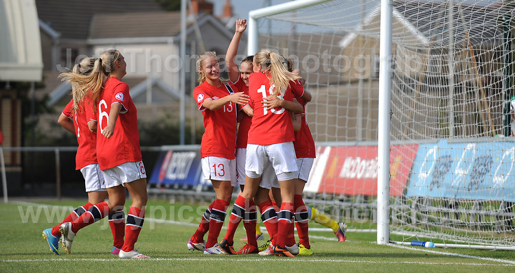The Norgeigan's celebrate a goal during the UEFA Womens U19 Championships at Stebonheath park Sunday 25th August 2013. All images are the copyright of Jeff Thomas Photography-www.jaypics.photoshelter.com-07837 386244-Any use of images must be authorised by the copyright owner.