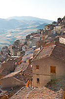 View across the historic village of Gangi to the surrounding hills, Sicily