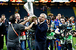 Manchester United manager Jose Mourinho celebates with the trophy after the UEFA Europa League Final match at the Friends Arena, Stockholm. Picture date: May 24th, 2017.Picture credit should read: Matt McNulty/Sportimage
