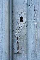 """Europe/France/Aquitaine/40/Landes/ Montfort-en-Chalosse: """"Le Musée de la Chalosse"""" détai serrure porte de la ferme"""