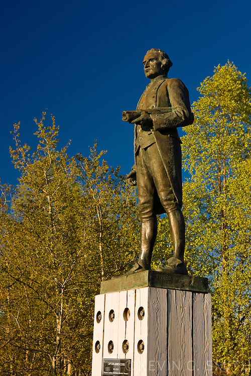 The captain cook monument overlooking Knik Arm in downtown Anchorage, sunset, Spring foliage, Spring, Southcentral Alaska, USA.