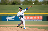 Mesa Solar Sox relief pitcher Manuel Rondon (51), of the Chicago Cubs organization, delivers a pitch during an Arizona Fall League game against the Surprise Saguaros at Sloan Park on November 1, 2018 in Mesa, Arizona. Surprise defeated Mesa 5-4 . (Zachary Lucy/Four Seam Images)