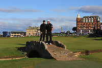 Ed Brown (AM) and Graeme McDowell (NIR) standing on the Swilken Bridge on the 18th during Round 3 of the Alfred Dunhill Links Championship 2019 at St. Andrews Golf CLub, Fife, Scotland. 28/09/2019.<br /> Picture Thos Caffrey / Golffile.ie<br /> <br /> All photo usage must carry mandatory copyright credit (© Golffile | Thos Caffrey)