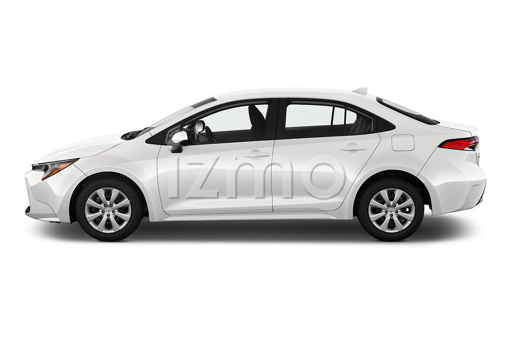 Car Driver side profile view of a 2020 Toyota Corolla LE 4 Door Sedan Side View