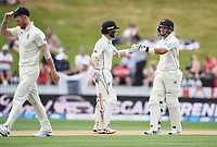 3rd December, Hamilton, New Zealand;  Kane Williamson and Ross Taylor celebrate runs during play day 5 of the 2nd test cricket match between New Zealand and England at Seddon Park, Hamilton, New Zealand.
