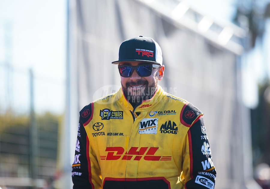 Feb 11, 2019; Pomona, CA, USA; NHRA funny car driver J.R. Todd during the Winternationals at Auto Club Raceway at Pomona. Mandatory Credit: Mark J. Rebilas-USA TODAY Sports