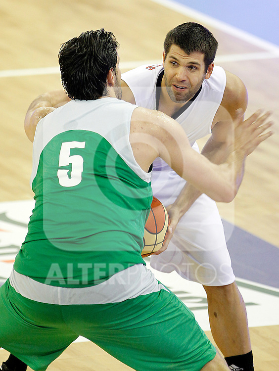Spain's Felipe Reyes (f) and Bulgaria's Kaloyan Ivanov during friendly match.August 13,2011. (ALTERPHOTOS/Acero)