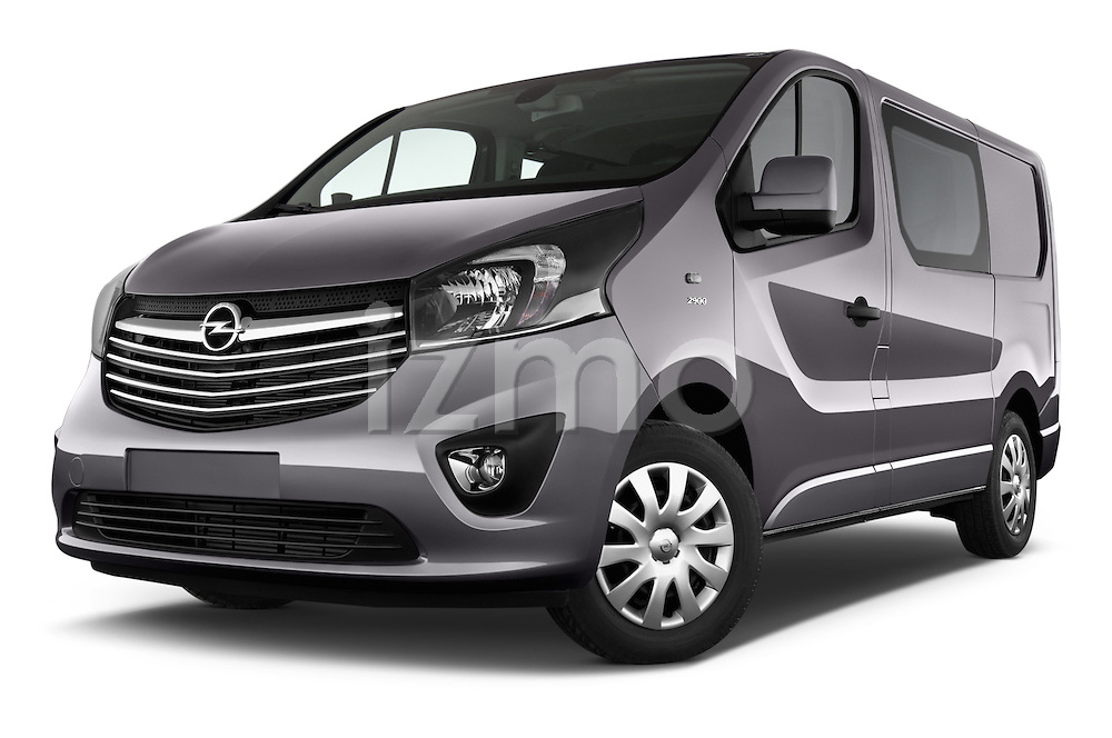 Stock pictures of low aggressive front three quarter view of a 2015 Opel Vivaro Sportive 4 Door Combi 2WD Low Aggressive