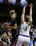 SIOUX FALLS, SD: MARCH 21:  Brittany Robinson #4 of Indiana (PA) looks to shoot over Ashland defender Laina Snyder #3 during their game at the 2018 Division II Women's Basketball Championship at the Sanford Pentagon in Sioux Falls, S.D. (Photo by Dick Carlson/Inertia)