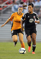BOYDS, MARYLAND-JULY 07,2012:  Lianne Sanderson (10) of DC United Women races away from Caroline Cowal (18) of Dayton Dutch Lions during a W League game at Maryland Soccerplex, in Boyds, Maryland. DC United women won 4-1.