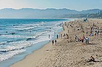 Santa Monica beach, Santa Monica Pier, Pacific Park, California, United States of America, North America Santa Monica CA, Beach, Activities, People, Swimming,
