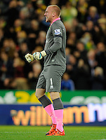 Norwich City Goalkeeper John Ruddy celebrates his sides opening goal during the Barclays Premier League match between Norwich City and Swansea City played at Carrow Road, Norwich on November 7th 2015