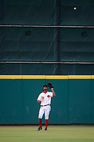 Florida Fire Frogs center fielder Anfernee Seymour (2) catches a fly ball during a game against the St. Lucie Mets on July 23, 2017 at Osceola County Stadium in Kissimmee, Florida.  St. Lucie defeated Florida 3-2.  (Mike Janes/Four Seam Images)