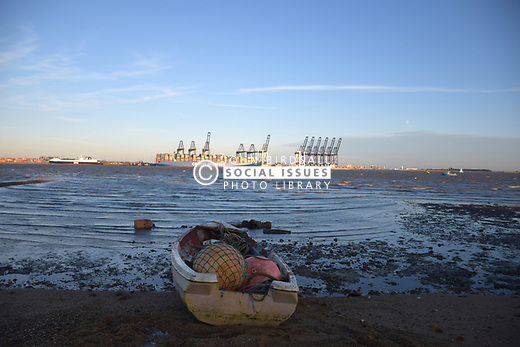 Felixstowe docks taken from Harwich, Essex UK Nov 2018