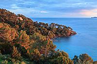 Domaine du Rayol en novembre : vue mer et sur les iles d'Hyères depuis le toit terrasse de  l'Hôtel de la Mer au coucher du soleil, à gauche le Rayollet émerge de la végétation.