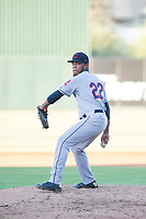 AZL Indians relief pitcher Maiker Manzanillo (22) delivers a pitch during a game against the AZL Angels on August 7, 2017 at Tempe Diablo Stadium in Tempe, Arizona. AZL Indians defeated the AZL Angels 5-3. (Zachary Lucy/Four Seam Images)