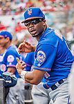 28 February 2019: New York Mets outfielder Rajai Davis in the dugout during a Spring Training game against the St. Louis Cardinals at Roger Dean Stadium in Jupiter, Florida. The Mets defeated the Cardinals 3-2 in Grapefruit League play. Mandatory Credit: Ed Wolfstein Photo *** RAW (NEF) Image File Available ***