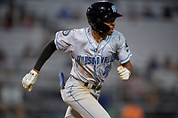 Hudson Valley Renegades Greg Jones (2) runs to first base during a NY-Penn League game against the Mahoning Valley Scrappers on July 15, 2019 at Eastwood Field in Niles, Ohio.  Mahoning Valley defeated Hudson Valley 6-5.  (Mike Janes/Four Seam Images)