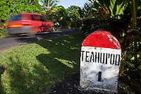 A roadside marker at Teahupoo, Tahiti, Saturday May 2 2009. Photo: joliphotos.com