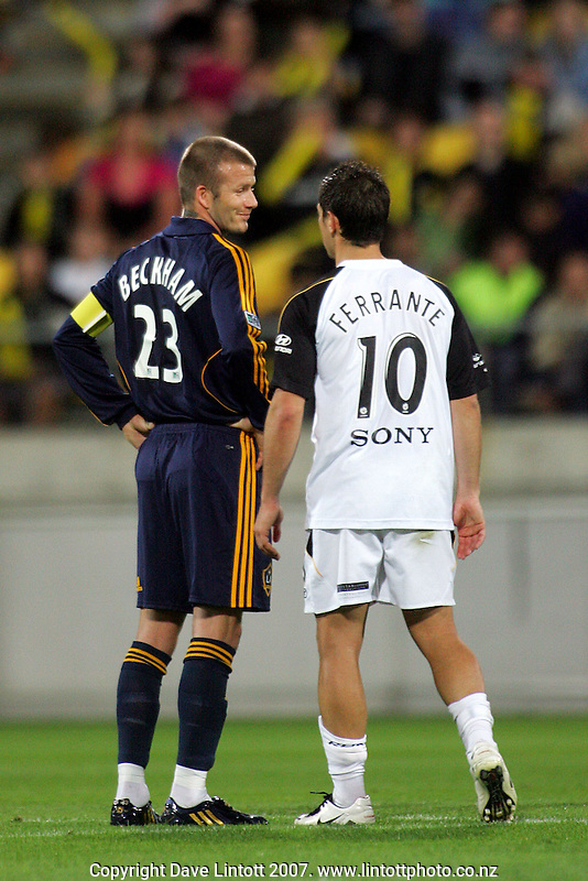 Michael Ferrante chats to David Beckham during a lull in play during the invitational friendly football match between Wellington Phoenix and LA Galaxy FC at Westpac Stadium, Wellington, New Zealand on Saturday 1 December 2007. Photo: Dave Lintott / lintottphoto.co.nz.