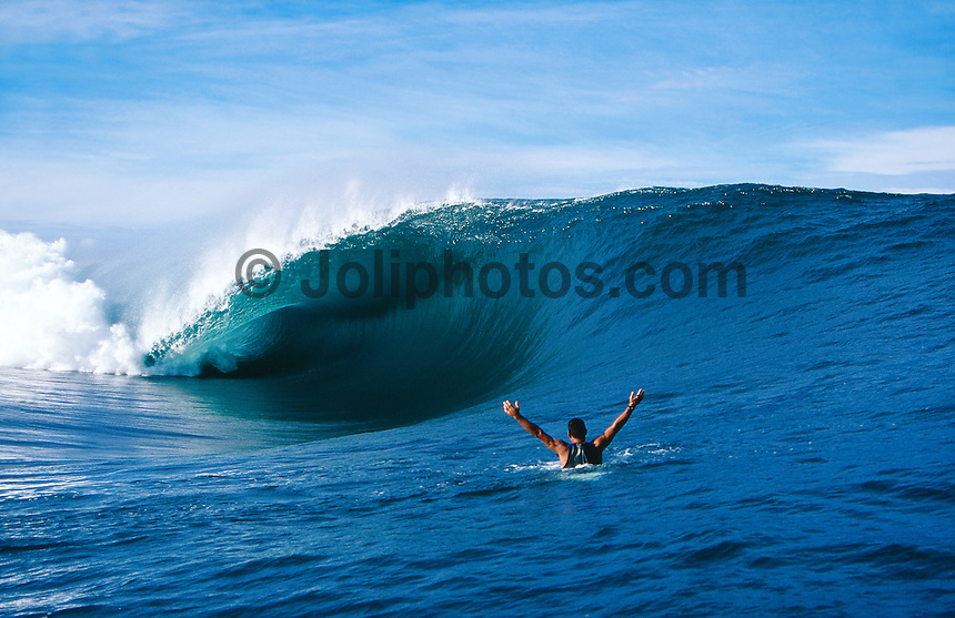 End of the Road, Surfing at the infamous Teahupoo located at the End of The Road on the south west corner of Tahiti Iti in French Polynesia.  Photo: Joli